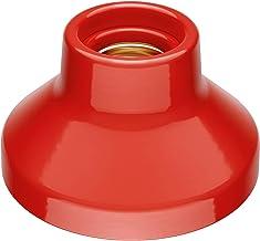 ledscom.de E27 porseleinen lamphouder Elektra, rond, rood, 90mm