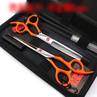 Professional Barber 6.0 Inch Orange Professional Set, High-end Professional Hairdressing Tools Set Scissors (Color : Orange)