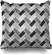 Hitime Throw Pillow Cover Architectural Herringbone Pattern Rectangles Slabs Tessellation Slanted Blocks Grill Tiling Floor Cladding Decorative Pillowcase Square Size 18 x 18 Inches Home Cushion Cases