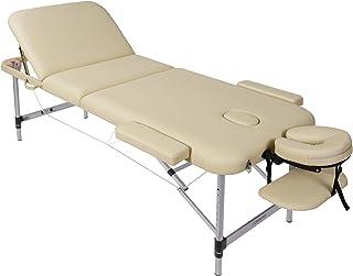 Naipo Table de Massage Pliante, 3-Section, Lit de massage, Professionnelle Cosmétique Table, Hauteur Réglable, Pieds en Al...
