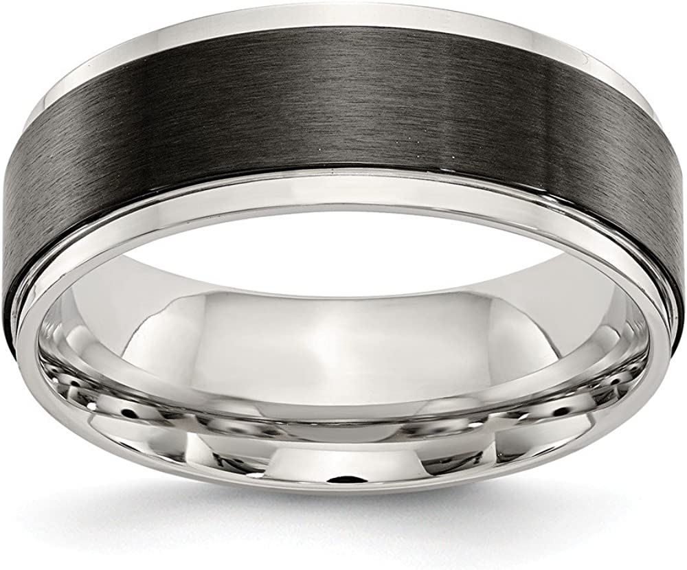 Stainless Steel Black IP-Plated Brushed Center 8mm Wedding Ring Band