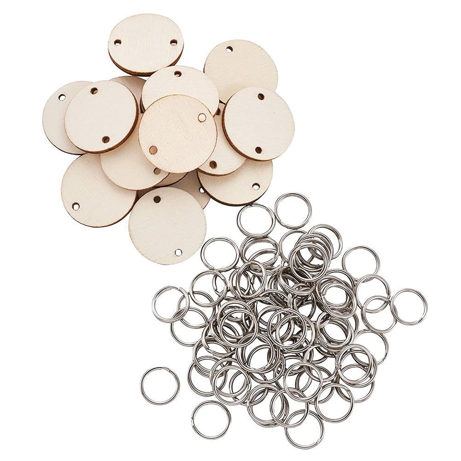 Pandahall 100pcs 30x2.5mm Flat Round Wooden Tags with Holes 12 mm Platinum Plated Iron Split Key Rings for Birthday Boards, Valentine Jewelry Making