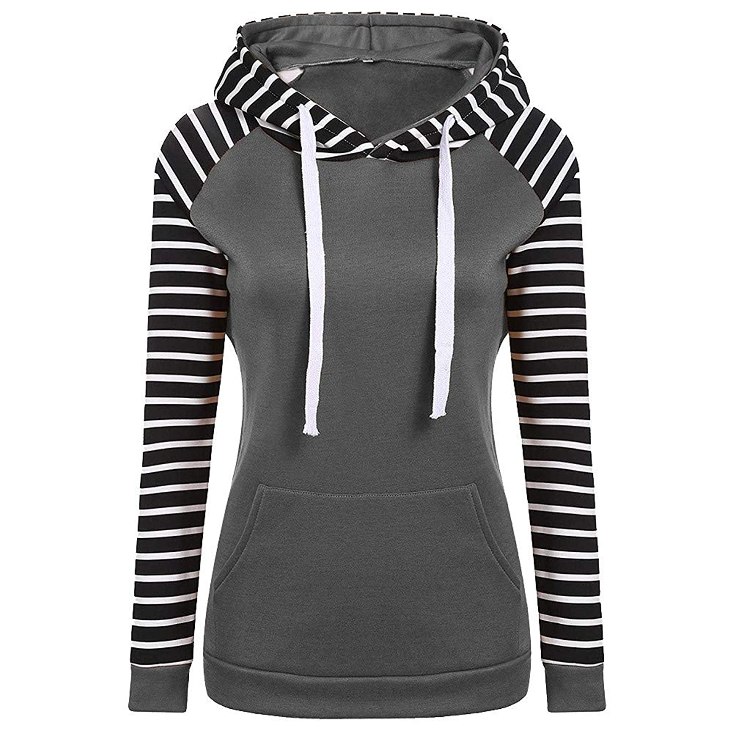 Women Hoodie Sweatshirt Duseedik Christmas Stripe Color Blocking Hoodie Long Sleeve Hoodie Sweatshirt Pullover