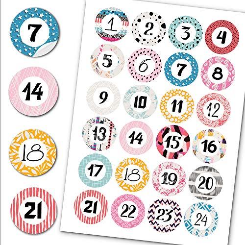 Little Fairy Tales Adventskalender Zahlen Aufkleber - 24 Sticker - 4cm Durchmesser - Zum basteln zu Weihnachten (Motiv 5)