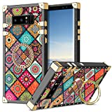 Wollony case for Galaxy Note 8 with Kickstand Ring Stand Fashion Cute Square Case Luxury Retro Phone Case for Women Girls Metal Edges Shockproof Protective Cover for Samsung Galaxy Note 8 Mandala