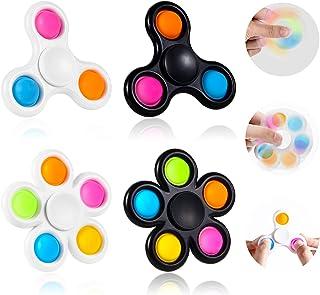 GOHEYI Fidget Pop Spinner Toys 4Pack,2 in 1 Push Bubbles Fidget Spinner Toy, Party Favor Simple Fidget Pop Spinner for Kid...