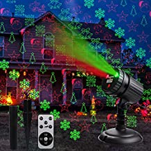 Christmas Laser Lights,Led Decorative Projector 8 Patterns Snow Santa Plug in Night Lights for Indoor Outdoor Xmas Halloween Holiday Party with Remote Control Timer,Red and Green