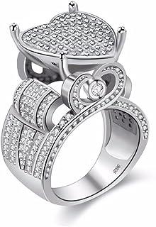 Uloveido Women's Love Heart CZ Cluster Statement Big Architecture Ring Platinum Plated (Size 6 7 8 9 10)