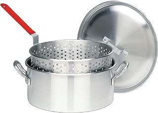 Bayou Classic 14 Quart Aluminum Fry Pot, Lid, and Basket