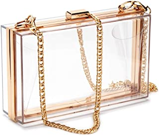 Women Acrylic Clear Clutch Transparent Crossbody Purse Evening Bag Sport Events Stadium Approved Chain Strap