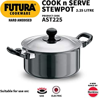 Hawkins/Futura L33 Hard Anodised Cook and Serve Stewpot, 2.25-Liter