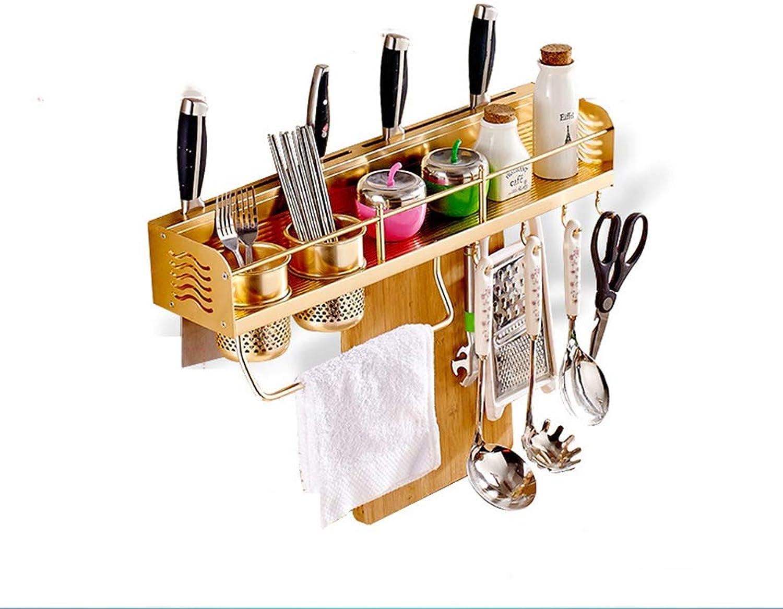 Wall Mounted Metal Hanging Rack Kitchen Storage Organiser with 6 Hooks,gold Plating Aluminum Kitchen Pan Rack