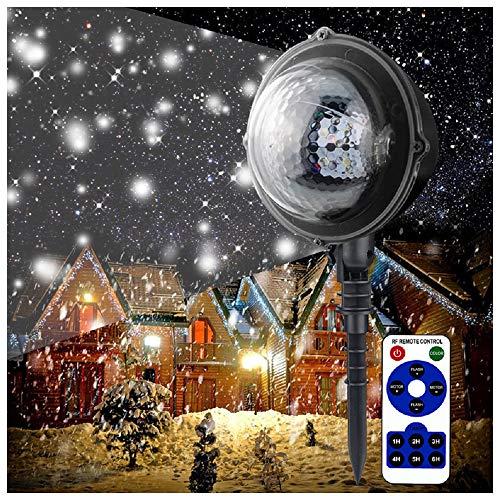 Led-effectlicht met witte sneeuwvlokken, dynamische motieven, tuinlamp projector, muurdecoratie, feestlicht, tuinlicht voor feesten, Kerstmis, carnaval