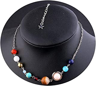 Handmade Galaxy Solar System Universe Eight Planets Guardian Star Natural Stone Beads Pendant Necklace Womens Jewelry