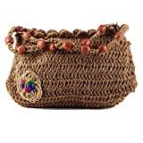 Happy Cultures 100% Handmade Eco-Friendly Washable Crochet Jute String Sling Bag with Wooden Beads Best Suited for Casual Outing etc -Applique May be Different