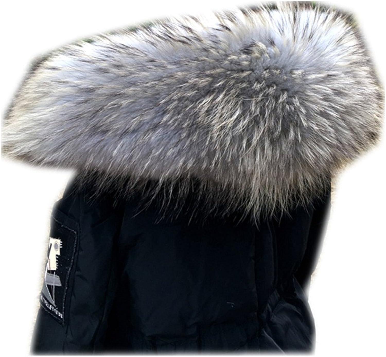 MH Bailment 100% Raccoon Fur Collar Winter Women's Real Fur Collar Collar Soft Fur Scarf Neck Warmer Scarves Fashion