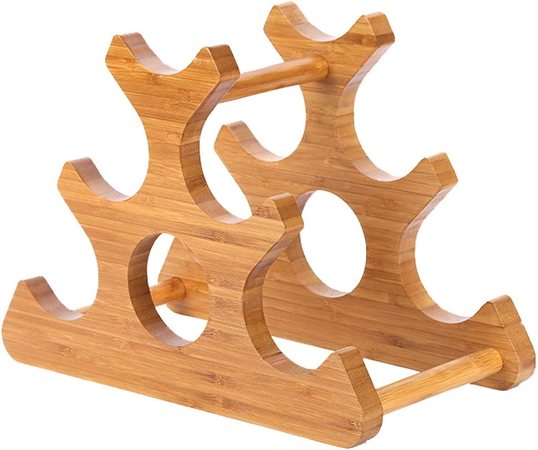 Wood Wine Rack, Free-Standing Wine Rack, Geometric, 6 Bottles of Red Wine