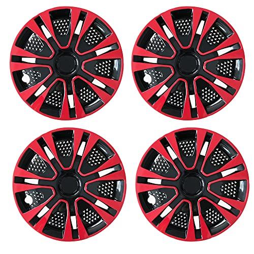DSFHKUYB 4 Uds Tapacubos, 13/14/15 Pulgadas Rojo Negro Tapacubos De Automóvil Tapacubos, Accesorios De Reacondicionamiento Automático,14in