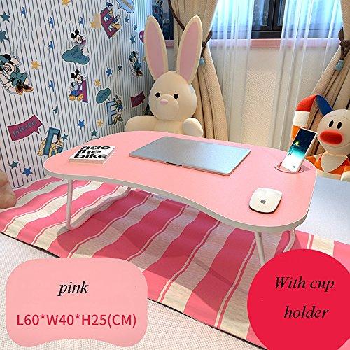 XIA Table pliante table d'étude table à manger bureau table de divertissement plusieurs couleurs à choisir de petite table 60 * 40 * 25 (longueur * largeur * hauteur) avec porte-gobelet table paresseu