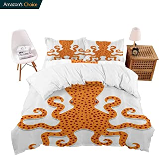 shirlyhome Bedding 4 Piece Bed Sheet Set Cute Spotty Octopusin Bright Colors MariMster Kids Nursery Theme Crisp Bed Linen King