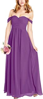 YUSHENGSM Women`s A Line Ruched Chiffon Off The Shoulder Bridesmaid Dresses Long Formal Evening Maxi Dress