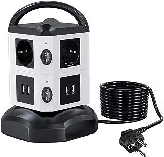 Regleta Vertical Enchufes de 6 Tomas Corrientes 4 USB Tomas Cable Extensible de 3 M con Función de Almacenamiento Prote...