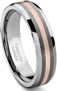 Hollywood Pro 6MM Tungsten Carbide 14K Rose Gold Inlay Wedding Band Ring Size 5-13