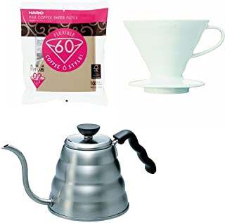 Hario V60 - 1.2 Liter Kettle, Porcelain Dripper, Spoon & 100 Filters - All Sold Together