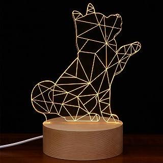 Uonlytech 3D Illusie Nachtlampje Akita Hond met Bell Nachtlampje voor Verjaardagscadeaus Kamer Slaapkamer Home Office Deco...