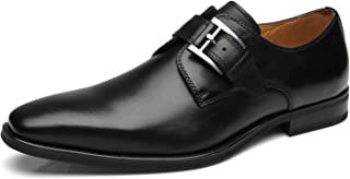 La Milano Mens Plain Toe Single Monk Strap Slip on Loafers Leather Oxford Modern Formal Business Dress Shoes …