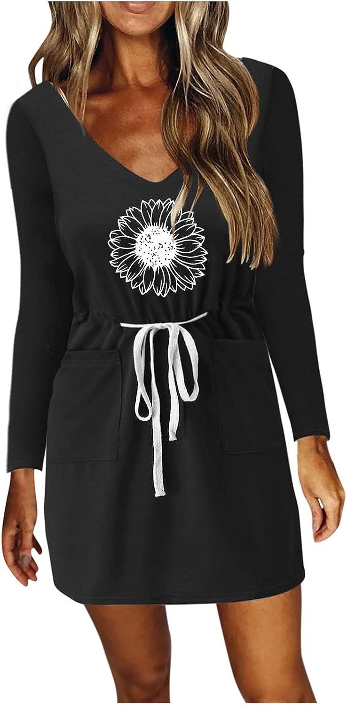 SanChesee Women's Autumn Casual Dresses Long Sleeves V-Neck Prints T-Shirt Dress Waist Drawstring Mini Dress with Pockets