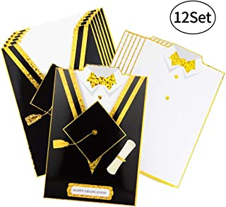 Graduation Cards Blank Graduation Party Invitations Advice Wishes Cards, Grad Celebration Shirt Card and Gown Envelope, 12 Pack Congratulations Greeting Cards Bulk Set