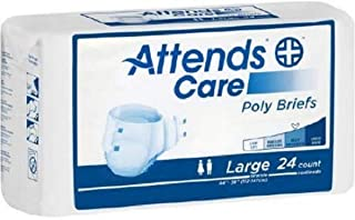 Attends Care Poly Briefs with Odor-Shield for Adult Incontinence Care, Large, Unisex, 24 Count (Pack of 3, Packaging may v...