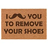 Daylor Coir Door Mat Entry Doormat Funny I Mustache You to Remove Your Shoes