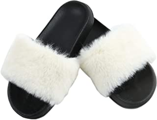 Vpogn Women's Faux Fur Slides Slippers Fuzzy Slides Fluffy Sandals Open Toe House Indoor Outdoor Slippers