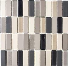 Mozaïek tegel keramiek licht beige grijs stokjes ongeglazuurd glas voor vloer muur badkamer toilet douche keuken tegelspie...
