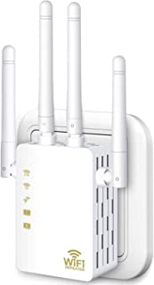 WiFi Range Extender, 1200Mbps Wireless Signal Repeater Booster, Dual Band 2.4G and 5G Expander, 4 Antennas 360°Full Covera...