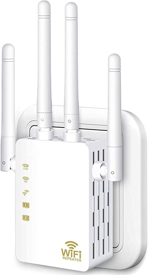 WiFi Range Extender, 1200Mbps Wireless Signal Repeater Booster, Dual Band 2.4G and 5G Expander, 4 Antennas 360° Full Coverage, Extend WiFi Signal to Smart Home & Alexa Devices(KW1200M01) (White)