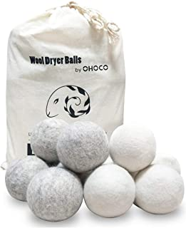 OHOCO Wool Dryer Balls 12 Pack with 6 White & 6 Gray, Organic Natural Wool for Laundry, Fabric Softening - Anti Static, Baby Safe, No Lint, Odorless and Reusable