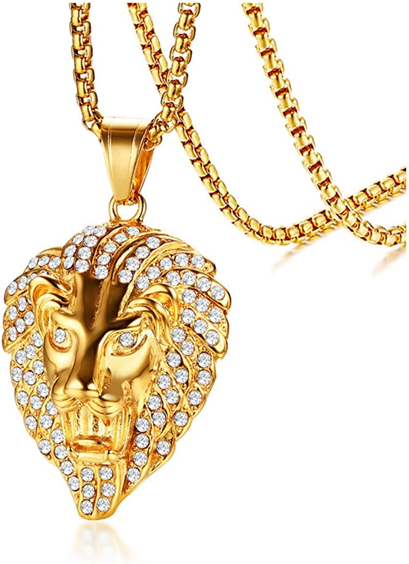 Rockyu Lion Necklace for Men Women Gold Plated Stainless Steel Lion Head Pendant Inlaid Lots of Shiny Rhinestone Chain 24 Inch Unisex Sweater Necklace Fashion Accessories