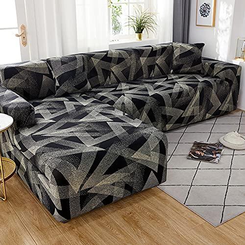 WXQY Wohnzimmer elastische geometrische Sofabezug, L-förmige Querschnitt Ecke rutschfeste Sofabezug, Enge elastische Sofabezug A2 4-Sitzer