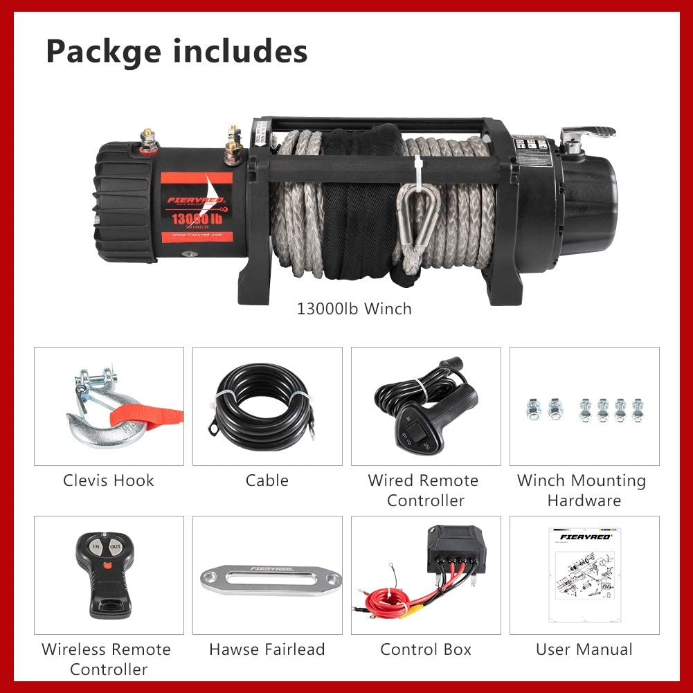 FIERYRED Electric Synthetic Rope Winch 13000 lb Load Capacity Fit for Jeep,Truck,SUV with Wirless Remote /& Corded Control