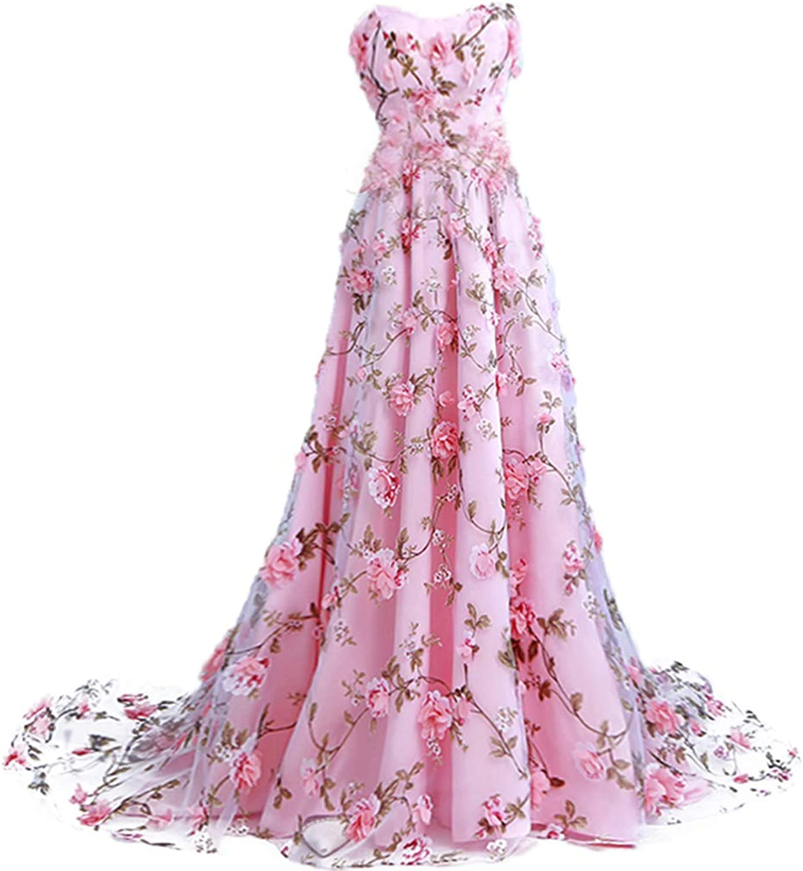 Fashion Women Party Off Shoulder Corset Flower Pink Vestidos de Fiesta Long Evening Dress A Line Tulle Pink Sleeveless Ball Gown Wedding Dresses for Party,S