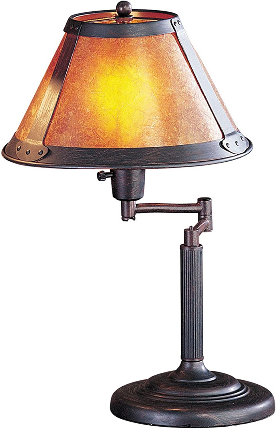 Cal Lighting BO-462 Table Lamp with Mica Glass Shades, Rust Finish, 18  x 11.5  x 11.5 ,