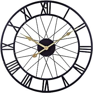 H0_V Horloge Murale Geante, Silencieuse Pendule Murales Vintage en Métal Decoration Maison, Diamètre 40cm