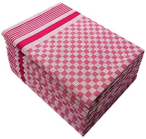10 Grubentücher 45x90 cm rot Küchentücher Grubentuch Set 100% Baumwolle