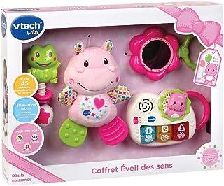 VTech - Coffret naissance - Eveil des sens - Cadeau de naissance avec premiers jouets de Bébé - rose – Version FR