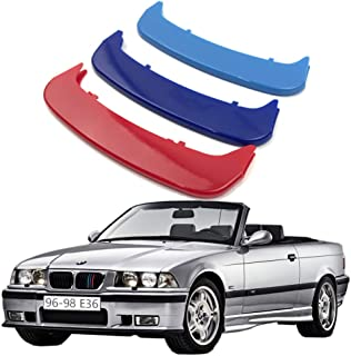 lanyun E36 Front Kidney Grill m Color Grill Insert Trims Stripes Logo Emblem fit 1996-1998 BMW 3 Series E36 Grill with 11 Beam