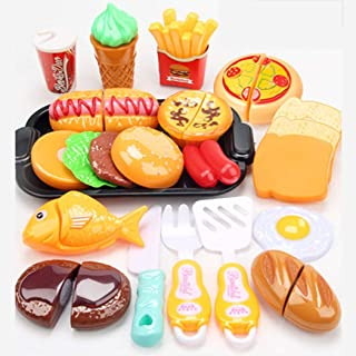 مجموعة ألعاب الطعام للاطفال من اميرتير، 17 قطعة من الفواكه القابلة للتقطيع والخضار، مجموعة أدوات المطبخ، ألعاب للتعلم، الأ...