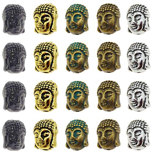50-Pack Retro Style Assorted Metal Hindu Buddha Head Spacers Loose Beads Hole 2mm Bracelets Charms Necklaces Pendants Jewelry Making Findings 11x9x8mm Mixed Colors